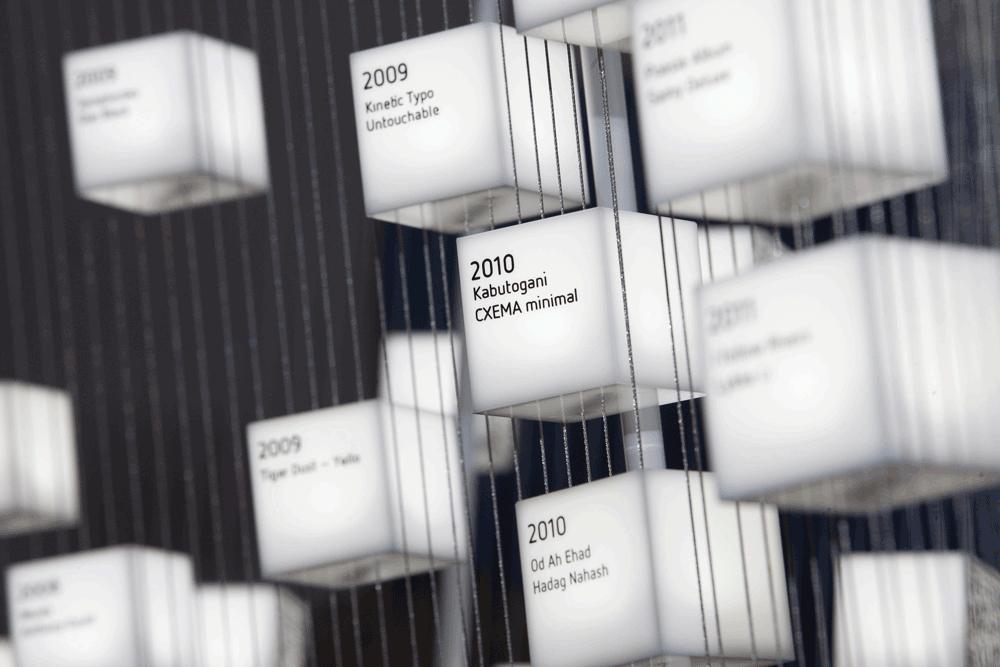 Moving Types Ausstellung zu bewegter Typografie. Plexiglaswürfel mit QR-Tag
