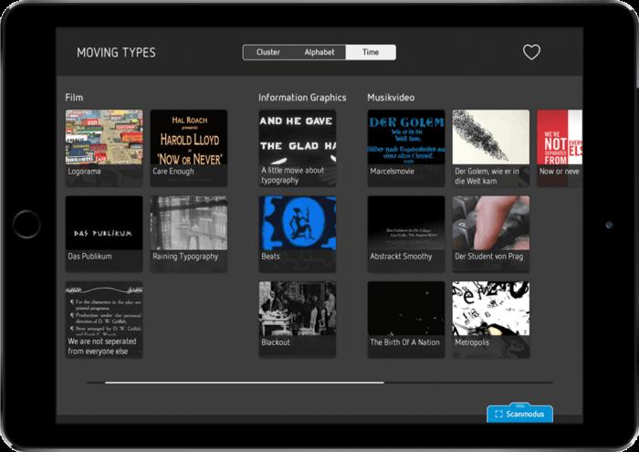 zzg Archiv iPad App Anwendung Moving Types Ausstellung Mediathek
